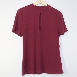 Belle + Sky Maroon Ribbed Keyhole Wrap Top